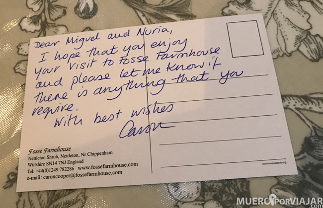 La postal estaba escrita a mano, un detalle muy chulo :)