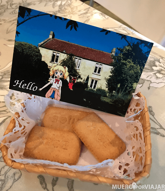 Nos recibieron con unas deliciosas galletitas caseras y una postal de bienvenida