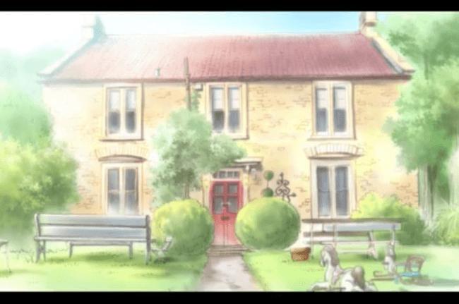 La fachada de Fosse Farmhouse en el anime Kiniro Mosaic