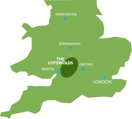 Mapa de la zona de los cotswolds cortesía de cotswolds.com