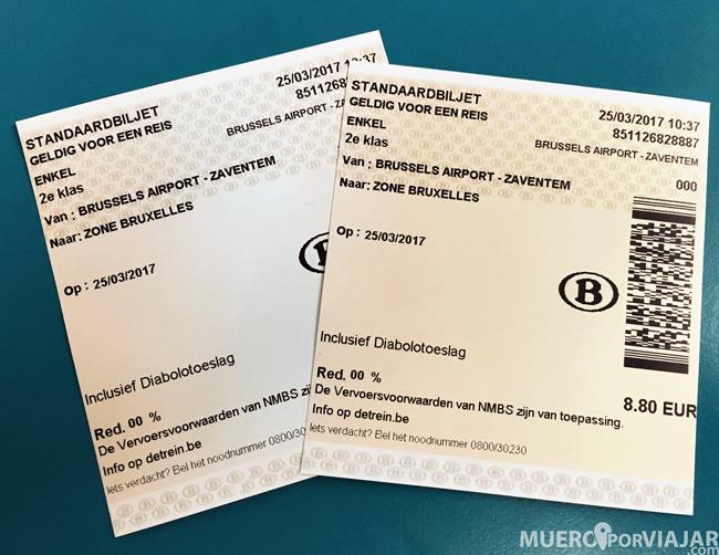 Tickets de tren - Bélgica