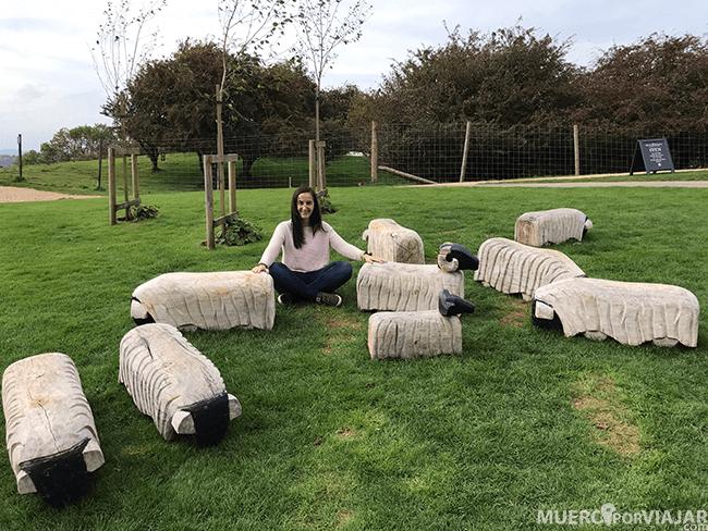 El animal más característico de los cotswolds es la oveja y encontramos muchas (reales o estatuas como estas) por todos lados