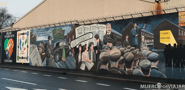 Los murales explican sucesos o momentos importantes de todo el proceso e historia de Irlanda del norte