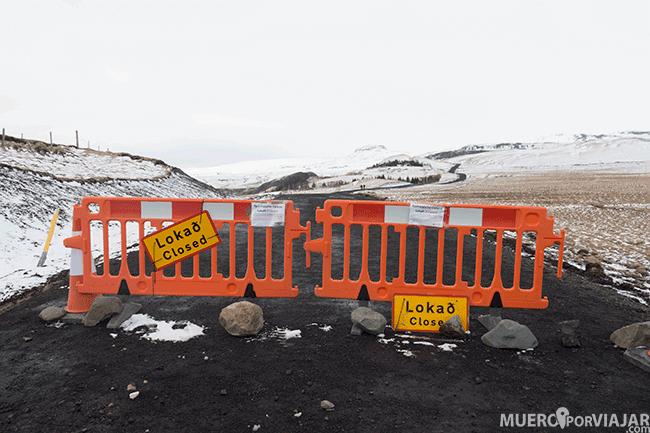 Carretera cortada en Islandia