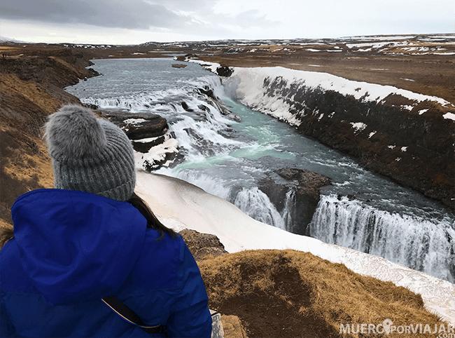 La inmensa cascada Gullfoss, una de las más impresionantes de Islandia