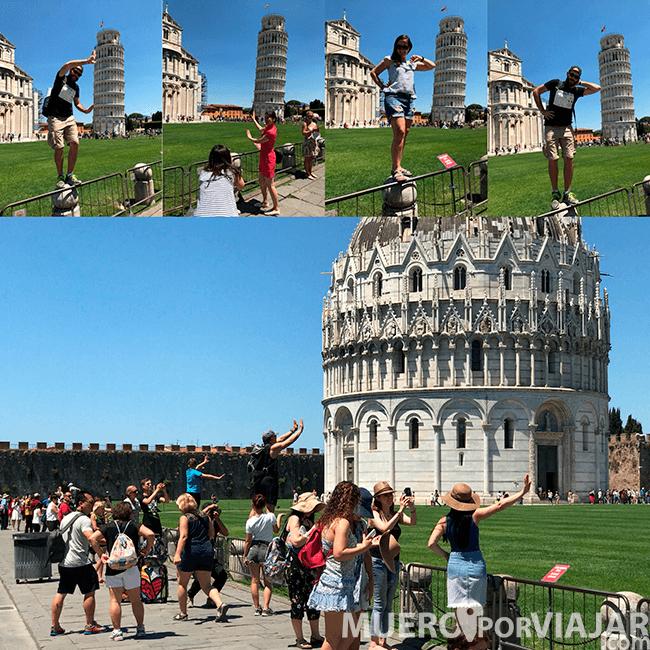 Todo el mundo intentando hacer una foto sosteniendo la Torre de Pisa