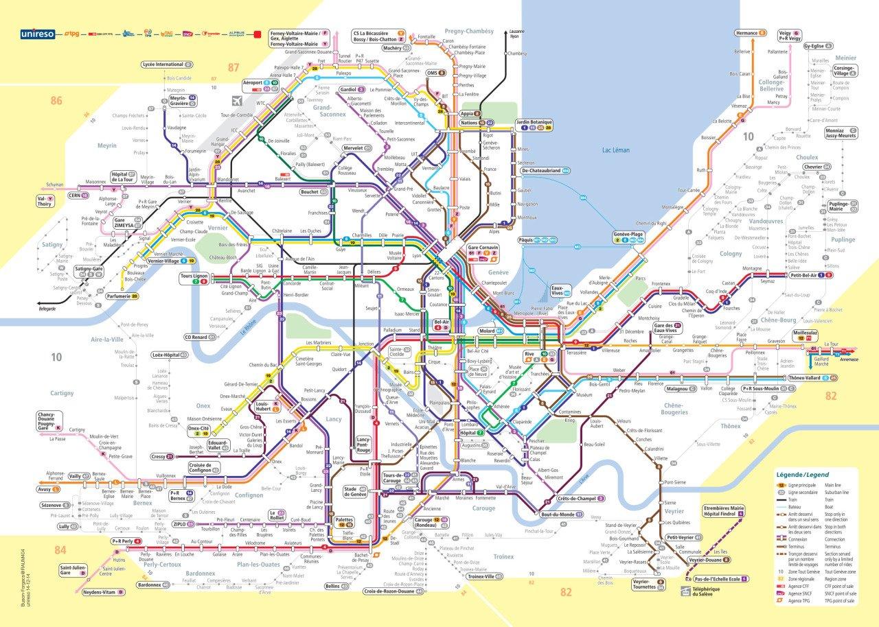 Mapa transporte de Ginebra