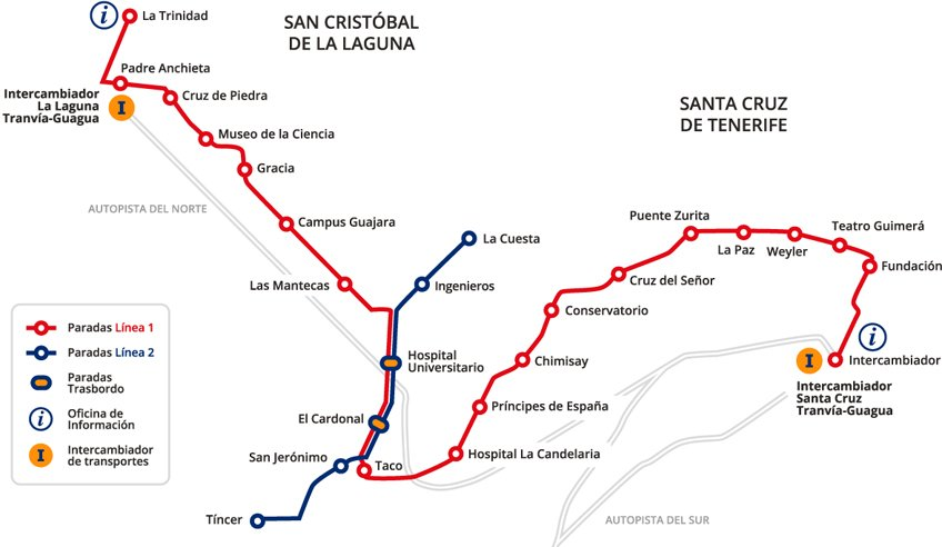 Mapa de tranvía de Santa Cruz de Tenerife a La Laguna