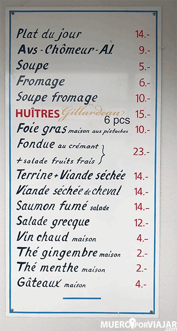 Menú de Bains des Paquis - Ginebra