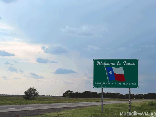 Cartel de entrada a Texas durante la Ruta 66