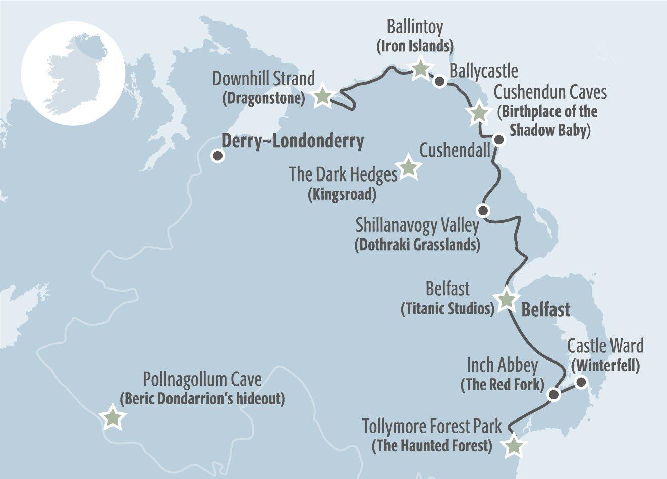 Mapa de las localizaciones de Juego de tronos en Irlanda del Norte facilitado por Turismo de Irlanda