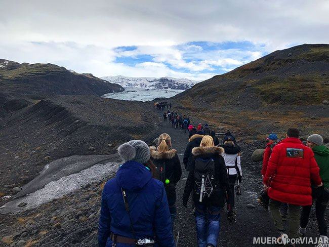 El glaciar Sólheimajökull muy popular en Islandia