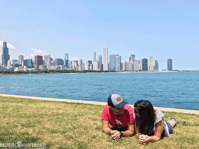 Vistas del Skyline de Chicago desde el Planetario Adler
