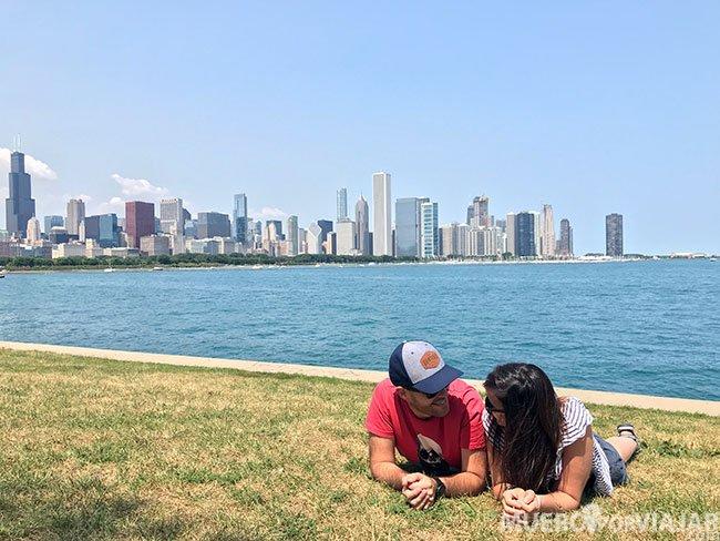 Desde el planetario Alder tienes unas vistas muy chulas del skyline de Chicago