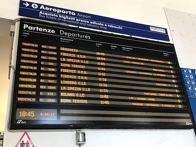 Panel de trenes regionales que van hacia Cinque Terre