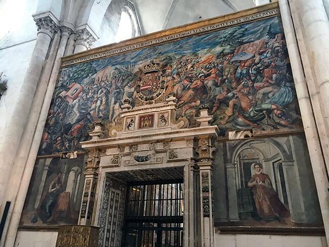 Mural pintado sobre la batalla de navas de Tolosa en las Huelgas en Burgos