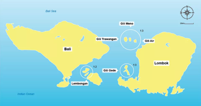 Mapa de las islas Gili en Indonesia