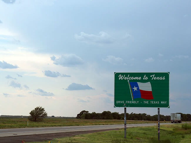 Cartel de Welcome Texas en la entrada del estado en la Ruta 66