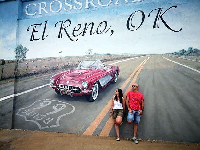 Uno de los murales más bonitos que vimos en la Ruta 66 se encuentra en El Reno, Oklahoma