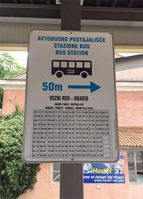 Los horarios y las paradas del bus de Piran, están muy bien indicadas