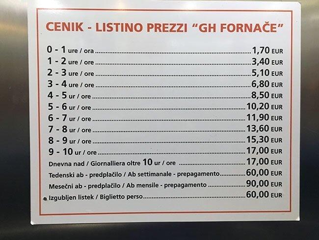 Listado de precios del parking para visitar Piran