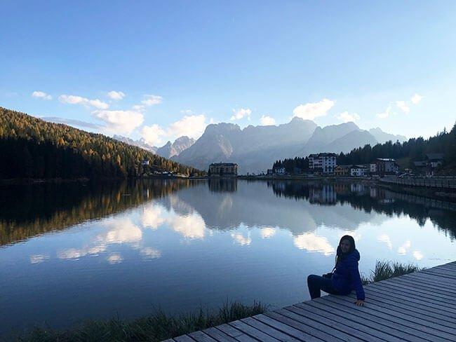 El Lago Misurina, donde teníamos nuestro hotel, en los Dolomitas