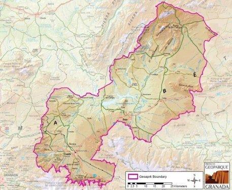 Mapa del area del Geoparque de Granada