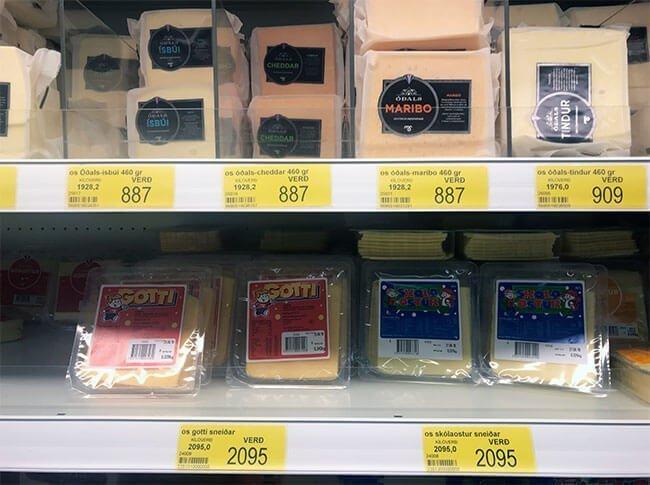Queso entre 6,32 euros a 15 euros el paquete en Islandia