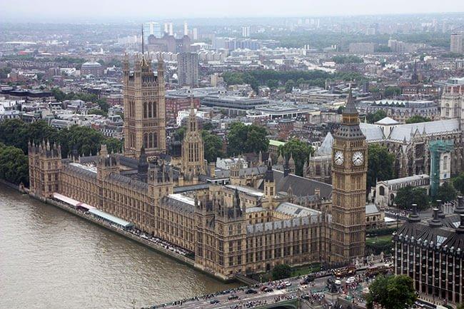 El Palacio de Westminster y el Big Ben desde el London Eye