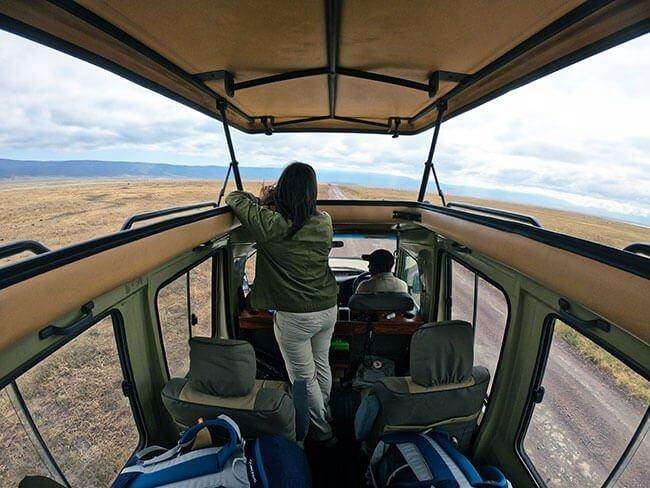 Los jeep de safari tienen el techo abatible para poder ver mejor a los animales