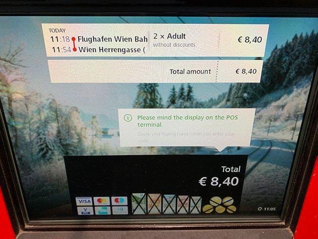 Maquina de venta de billetes de tren de Viena
