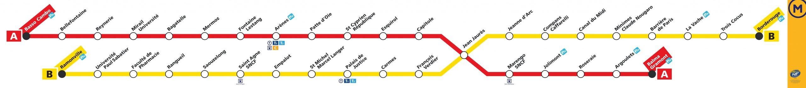 Mapa metro Toulouse