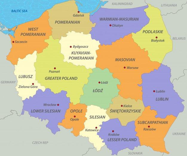 Geografía de Polonia en polaco