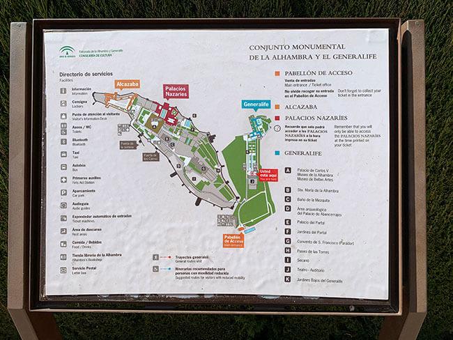 Mapa para visitar la Alhambra y el Generalife