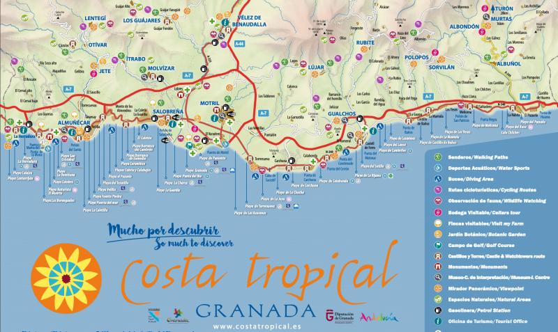 Mapa de las ciudades de la Costa Tropical de Granada (via www.costatropical.es)