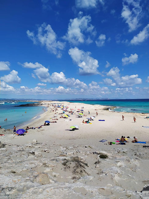 A la izquierda Ses Illetes a la derecha la Playa de Llevant