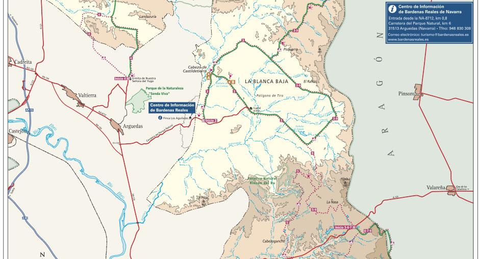 Mapa de la ruta de las Bardenas Reales
