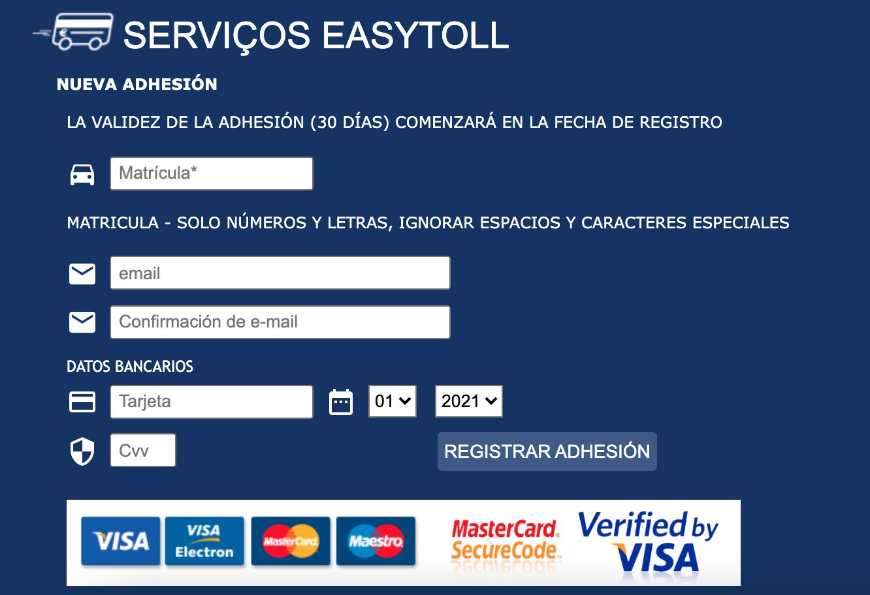 Captura del formulario de pago de peajes de autopistas de la web Easytoll, la oficial de Portugal